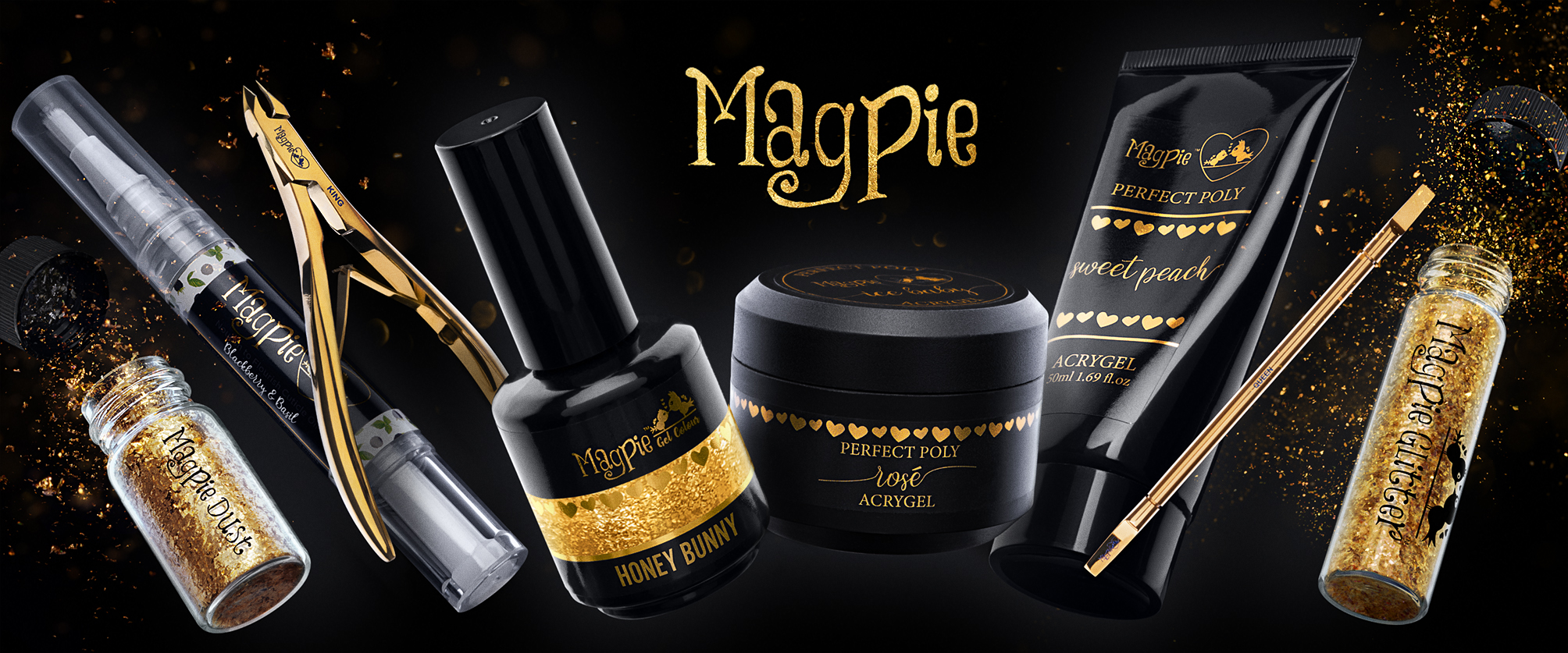 Magpie Products - Honey Bunny, Perfect Poly Acrygel, Sweet Peach Acrygel, Blackberry and basil